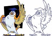 Knowledgeable Owl teacher in front of blackboard. In basic outline and full color. poster