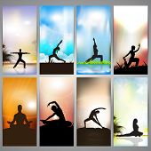 Set of website banners of yoga or meditation. EPS 10 poster