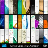 Mega collection of 33 abstract professional and designer slim business cards or visiting cards on different topic, arrange in vertical. EPS 10. poster