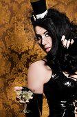 Sexy Retro Cabaret - Glamorous Vixen holding a Vintage Glass poster