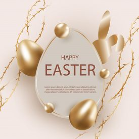 Golden easter egg with decorative elements illustration. Happy easter background, easter design. Happy Easter, easter bunny, easter background, easter banners, easter flyer, easter design. Copy space text area, vector illustration.