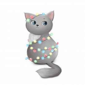 Cute Little Cat Entangled In A Christmas Garland. Raster Illustration