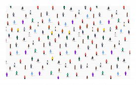 Large Group Of People On White Background. People Communication Concept.