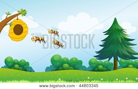 Illustration of a beehive above the hill with three bees