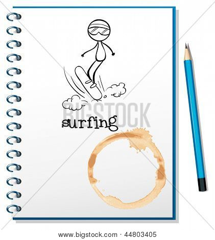 Illustration of a notebook with a sketch of a person surfing on a white background