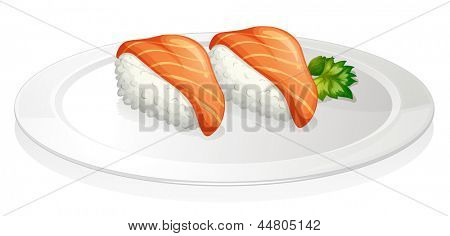 Illustration of a plate with two sets of sushi on a white background