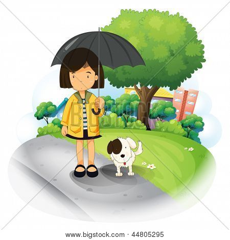 Illustration of a girl with an umbrella and a puppy at the road on a white background