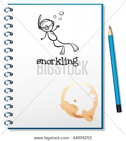 Illustration of a notebook with a sketch of a person snorkling on a white background