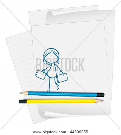 Illustration of a paper with a drawing of a girl holding two bags on a white background
