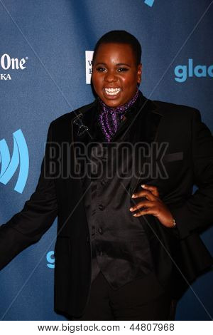 LOS ANGELES - APR 20:  Alex Newell arrives at the 2013 GLAAD Media Awards at the JW Marriott on April 20, 2013 in Los Angeles, CA