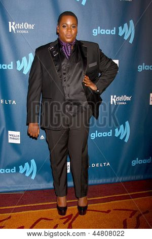 lLOS ANGELES - APR 20:  Alex Newell arrives at the 2013 GLAAD Media Awards at the JW Marriott on April 20, 2013 in Los Angeles, CA