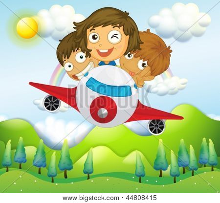 Illustration of an airplane with three playful kids