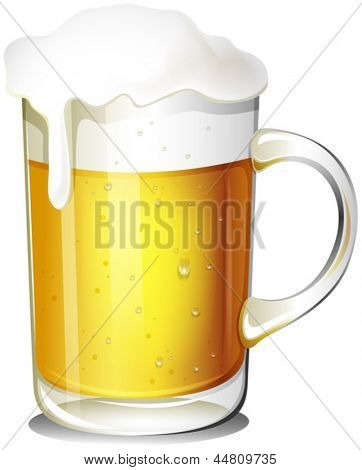 Illustration of a glass of cold beer on a white background