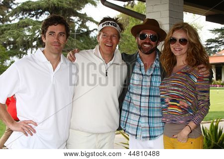 LOS ANGELES - APR 15:  Zach Jones, Jack Wagner, Guest, Ashley Jones at the Jack Wagner Celebrity Golf Tournament  at the Lakeside Golf Club on April 15, 2013 in Toluca Lake, CA