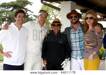 LOS ANGELES - APR 15:  Zach Jones, Jack Wagner, Joe Pesci, Guest, Ashley Jones at the Jack Wagner Celebrity Golf Tournament  at the Lakeside Golf Club on April 15, 2013 in Toluca Lake, CA