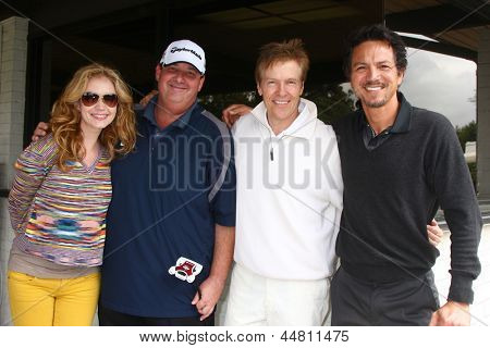 LOS ANGELES - APR 15:  Ashley jones, Brian Baumgartner, Jack Wagner, Benjamin Bratt at theJack Wagner Celebrity Golf Tournament  at the Lakeside Golf Club on April 15, 2013 in Toluca Lake, CA