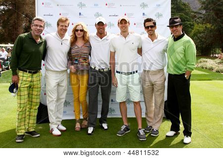 LOS ANGELES - APR 15: John York, Jack Wagner, Ashley Jones, Kyle Lowder, Zack Conroy, Brandon Beemer, Tim Allen at the Wagner Golf Tournament at Lakeside Golf Club on April 15, 2013 in Toluca Lake, CA