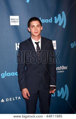 LOS ANGELES - APR 20:  Logan Lerman arrives at the 2013 GLAAD Media Awards at the JW Marriott on April 20, 2013 in Los Angeles, CA