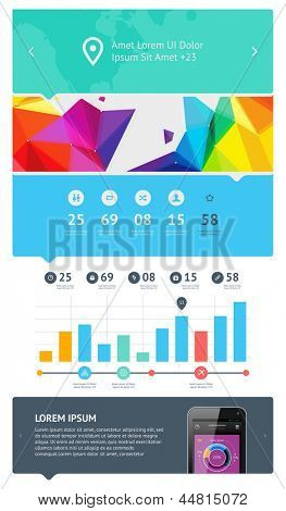poster of UI is a set of beautiful components featuring the flat design trend EPS10.