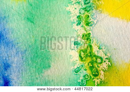 Blue Green and Yellow Watercolor Macro 2