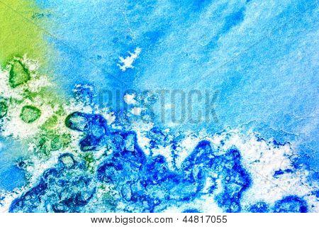 Blue Green and Yellow Watercolor Macro 5