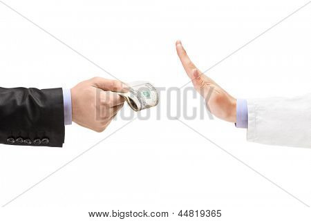 Man giving bribe to a doctor refusing the money, isolated on white background poster