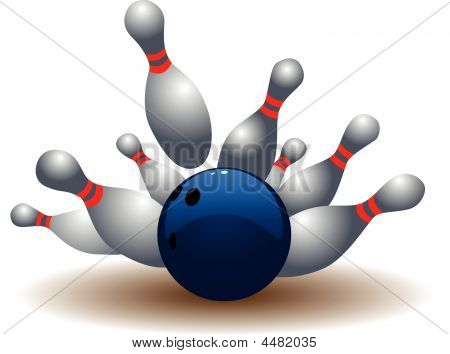 Bowling Ball And Falling Bowling Pins.