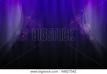 Violette Background With Abstract Curtain