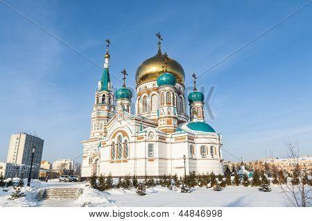Old white-stone Russian Orthodox church in Omsk, Siberia,
