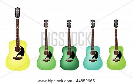 Beautiful Green Colors of Acoustic Guitars on White Background