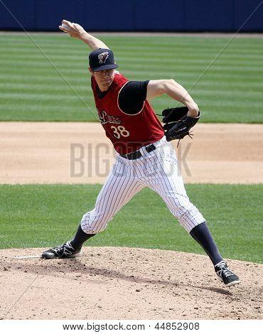 Scranton Wilkes Barre Railriders' Cody Eppley pitches in a game