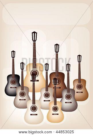 Beautiful Classical Guitars on Beautiful Brown Background