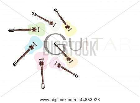 Set of Colorful Classical Guitars on White Background