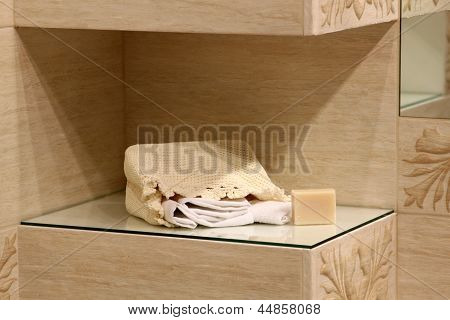 Bathroom Decoration With Soap And Towels
