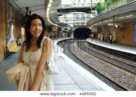 Woman Waits For Train