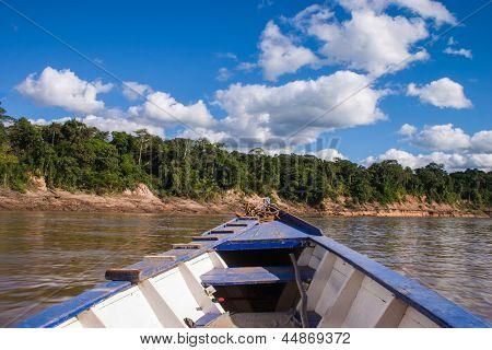 Boat In The Peruvian Rainforrest