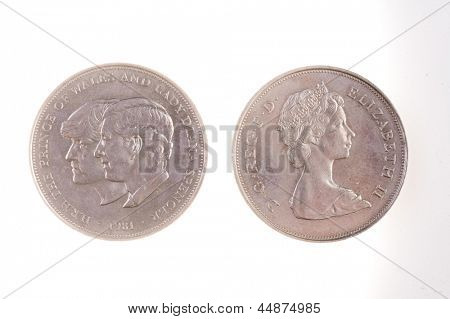 Commemorative coin of Prince Charles and Princess Diana's marraige, isolated on white