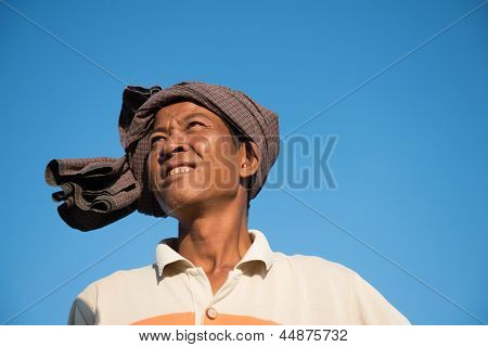 Portrait of Asian traditional farmer, Bagan, Myanmar
