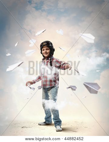 Little boy in pilot's hat