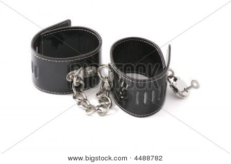 Black Leather Hancuffs Isolated