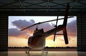 Civilian helicopter in the hangar. poster