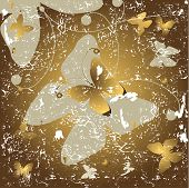Grunge golden and grey background with butterflies (vector) poster