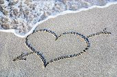 heart outline with arrow on the wet brilliance beach sand against wave poster