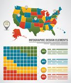 Map of the United States with each state editable and other elements for designs poster
