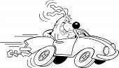 Black and white illustration of a dog driving a car. poster