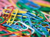 colorful paper clips close up poster