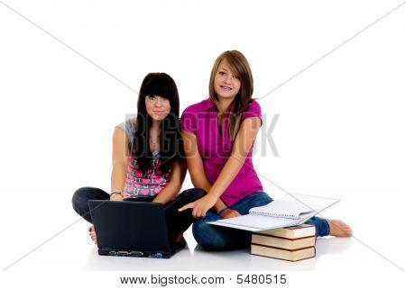 Teenager Girls Studying