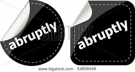 Black Abruptly Stickers Set On White, Icon Button