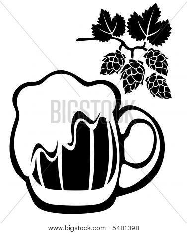 Beer Mug And Hop
