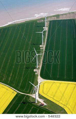 Aerial Of A Coastal Windfarm